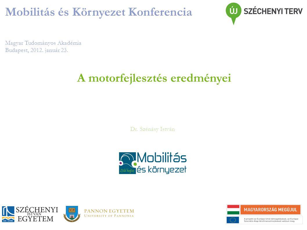 Magyar Tudományos Akadémia Budapest, 2012. január 23. Mobilitás és Környezet Konferencia Dr. Szénásy István A motorfejlesztés eredményei