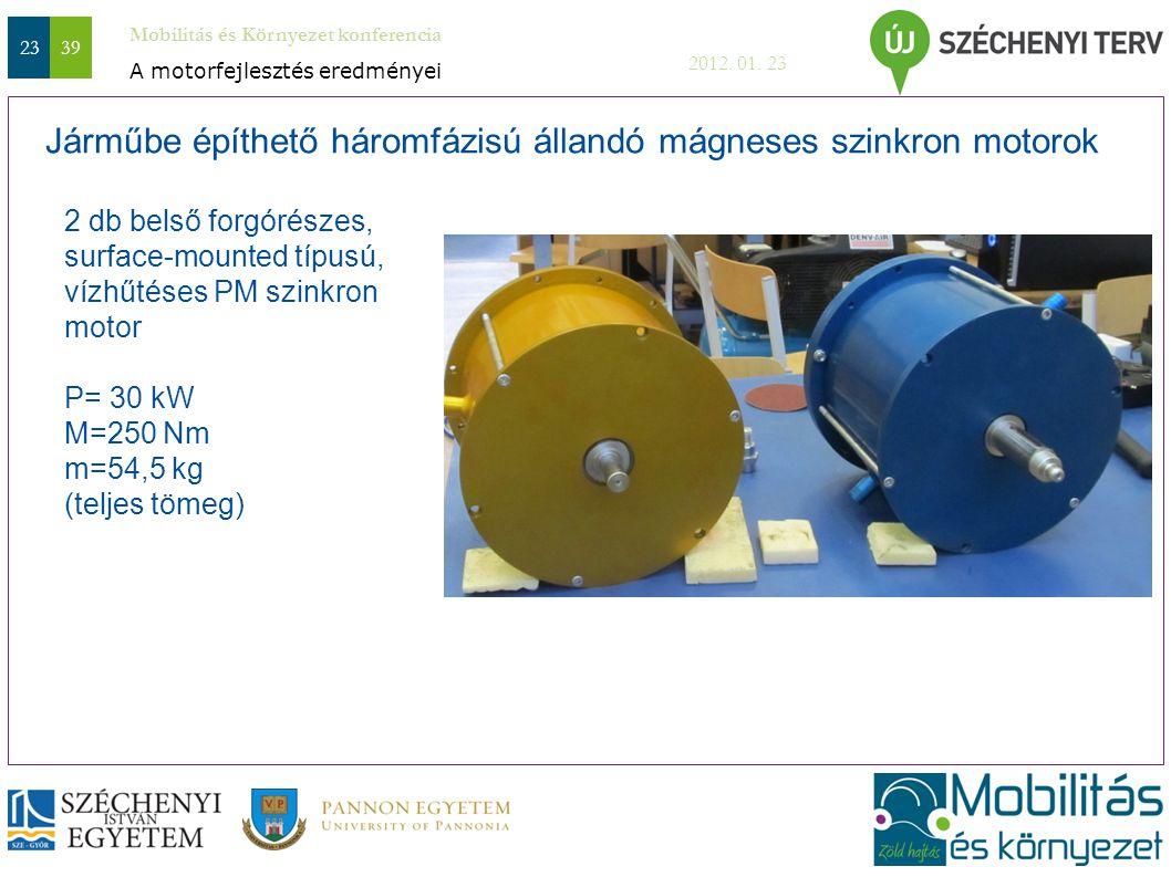 Mobilitás és Környezet konferencia 2012. 01. 23 2339 Járműbe építhető háromfázisú állandó mágneses szinkron motorok A motorfejlesztés eredményei 2 db