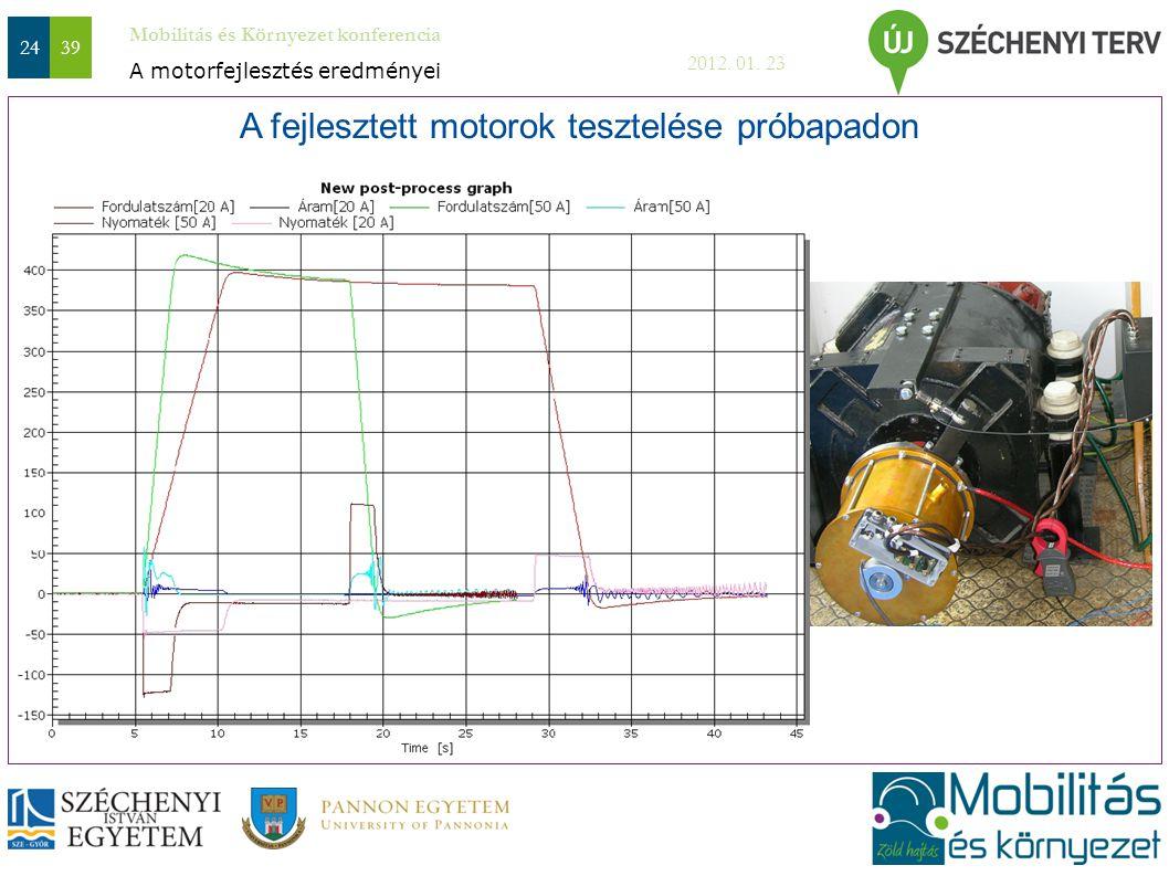 Mobilitás és Környezet konferencia 2012. 01. 23 2439 A fejlesztett motorok tesztelése próbapadon A motorfejlesztés eredményei Ide kell egy kép a motor