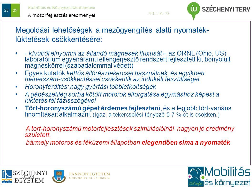 Mobilitás és Környezet konferencia 2012. 01. 23 2839 Megoldási lehetőségek a mezőgyengítés alatti nyomaték- lüktetések csökkentésére: - kívülről elnyo
