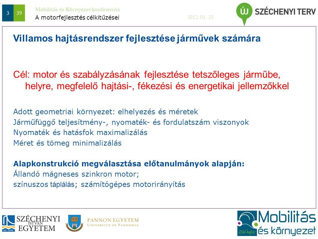 Mobilitás és Környezet konferencia 2012. 01. 23 339 Cél: motor és szabályzásának fejlesztése tetszőleges járműbe, helyre, megfelelő hajtási-, fékezési