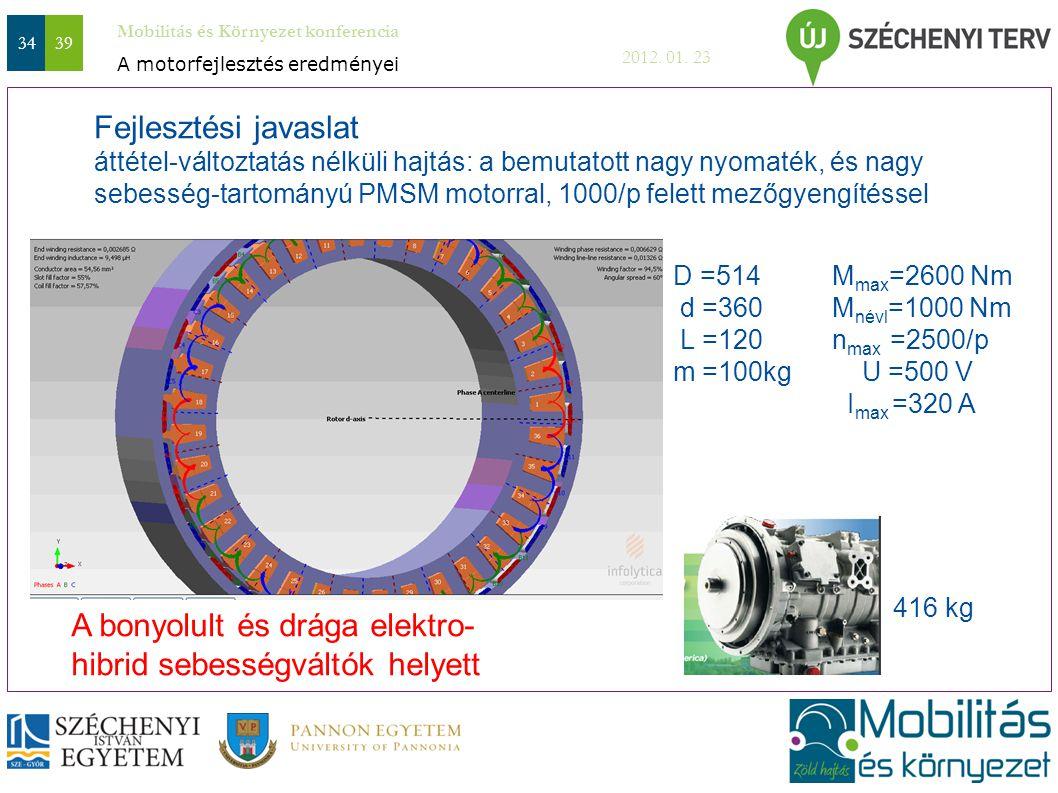 Mobilitás és Környezet konferencia 2012. 01. 23 3439 Fejlesztési javaslat áttétel-változtatás nélküli hajtás: a bemutatott nagy nyomaték, és nagy sebe