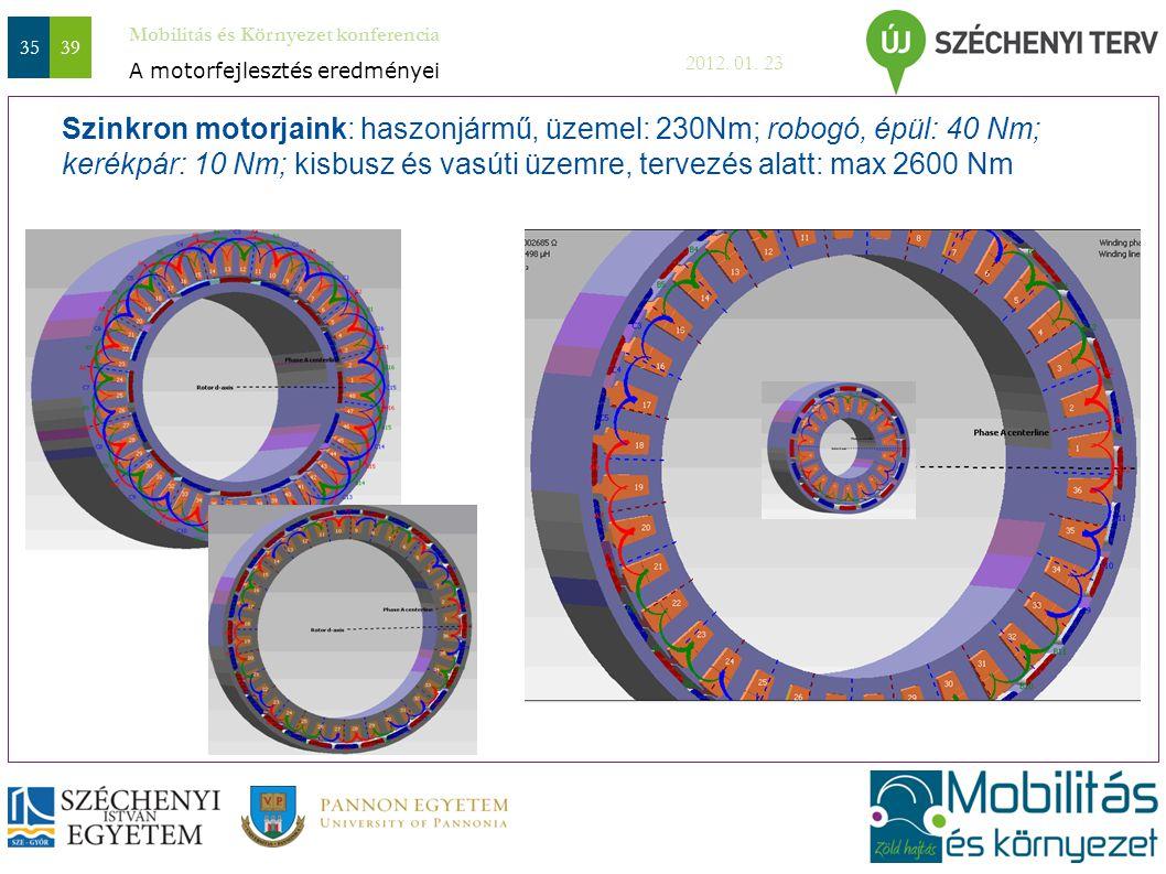 Mobilitás és Környezet konferencia 2012. 01. 23 3539 Szinkron motorjaink: haszonjármű, üzemel: 230Nm; robogó, épül: 40 Nm; kerékpár: 10 Nm; kisbusz és