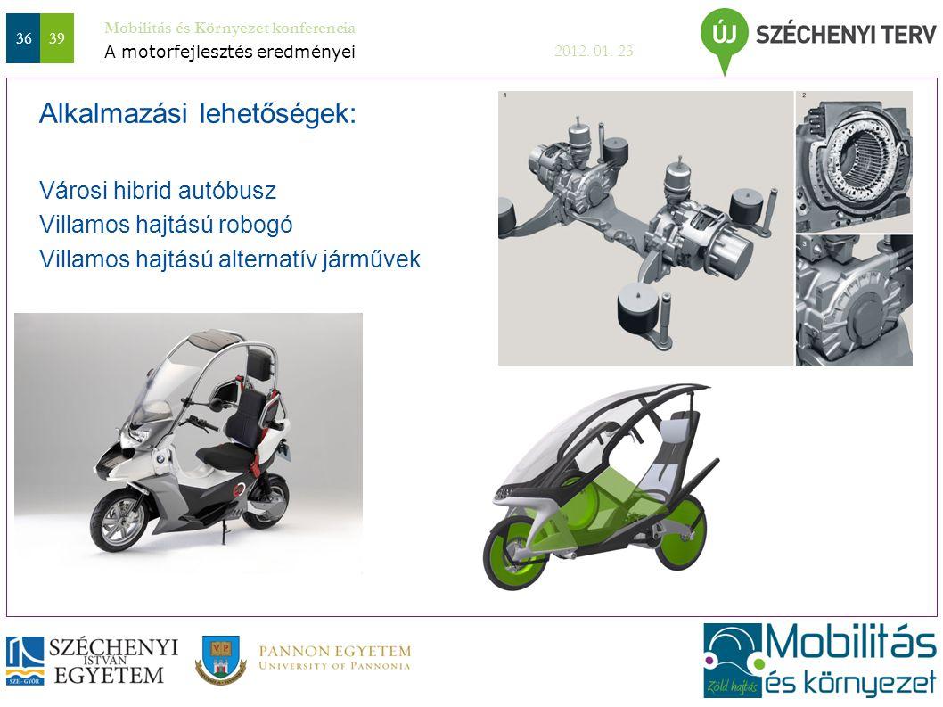 3639 Mobilitás és Környezet konferencia 2012. 01. 23 Városi hibrid autóbusz Villamos hajtású robogó Villamos hajtású alternatív járművek Alkalmazási l