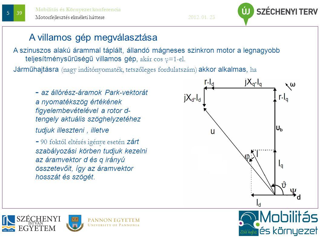 Mobilitás és Környezet konferencia 2012. 01. 23 539 A szinuszos alakú árammal táplált, állandó mágneses szinkron motor a legnagyobb teljesítménysűrűsé