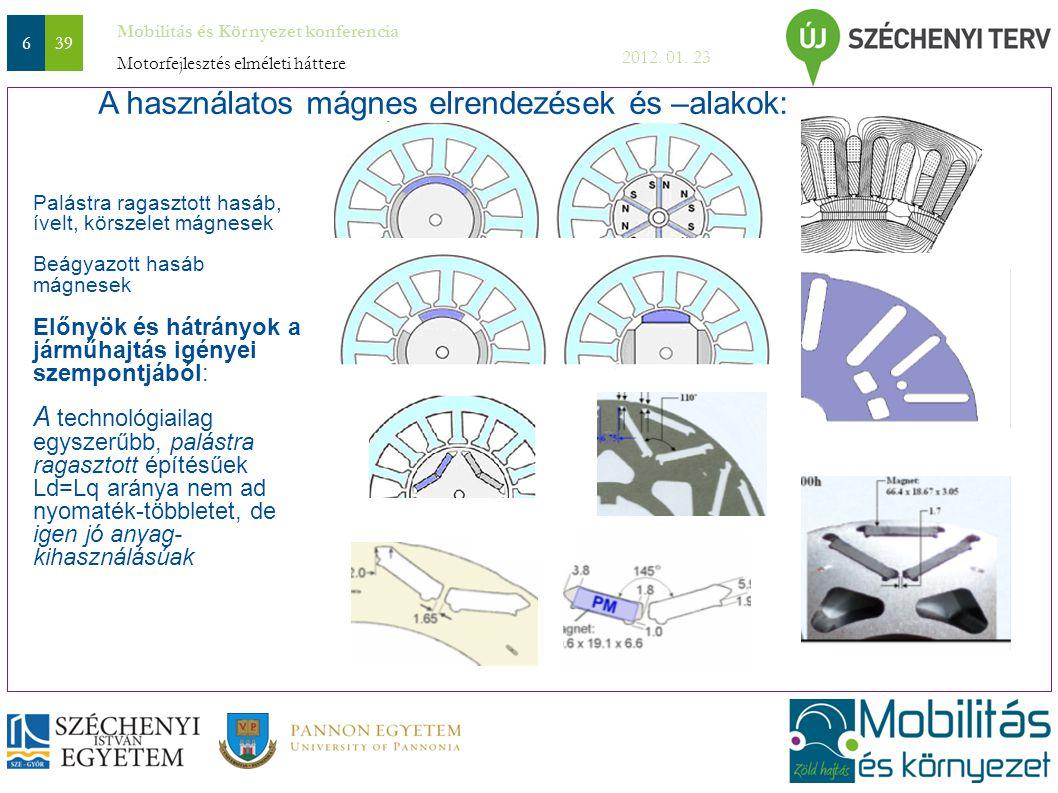 Mobilitás és Környezet konferencia 2012. 01. 23 639 Palástra ragasztott hasáb, ívelt, körszelet mágnesek Beágyazott hasáb mágnesek Előnyök és hátrányo