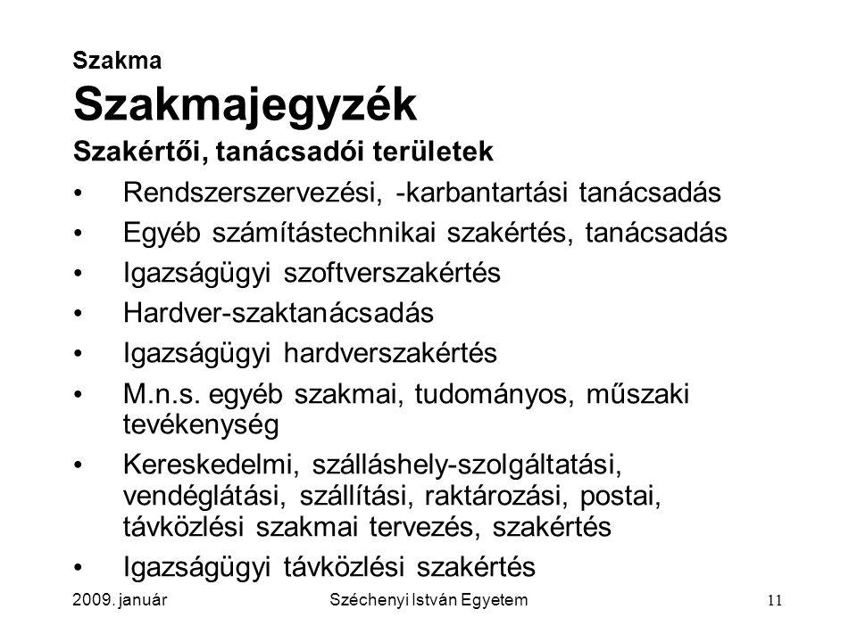 2009. januárSzéchenyi István Egyetem11 Szakma Szakmajegyzék Szakértői, tanácsadói területek Rendszerszervezési, -karbantartási tanácsadás Egyéb számít
