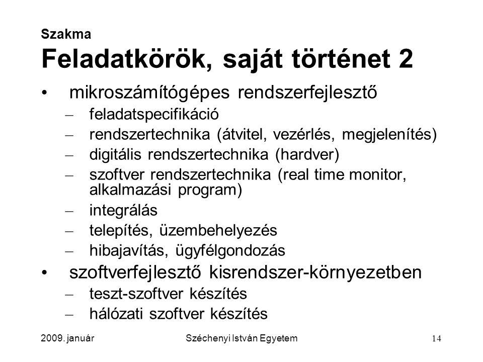 2009. januárSzéchenyi István Egyetem14 Szakma Feladatkörök, saját történet 2 mikroszámítógépes rendszerfejlesztő – feladatspecifikáció – rendszertechn
