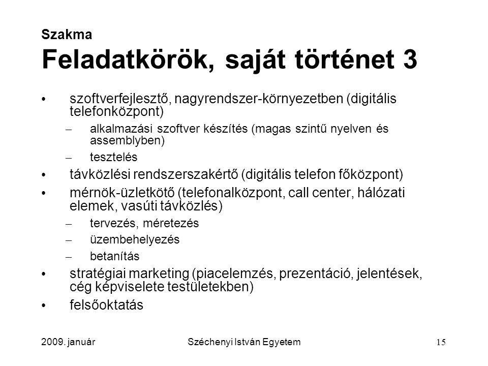 2009. januárSzéchenyi István Egyetem15 Szakma Feladatkörök, saját történet 3 szoftverfejlesztő, nagyrendszer-környezetben (digitális telefonközpont) –
