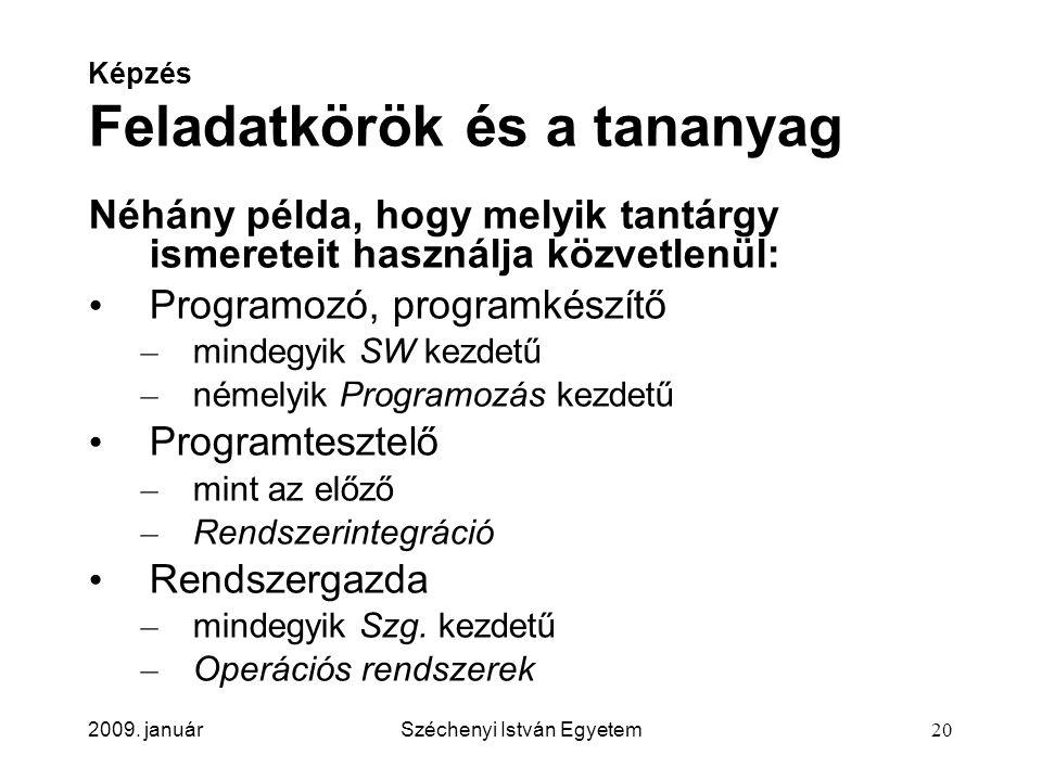 2009. januárSzéchenyi István Egyetem20 Képzés Feladatkörök és a tananyag Néhány példa, hogy melyik tantárgy ismereteit használja közvetlenül: Programo