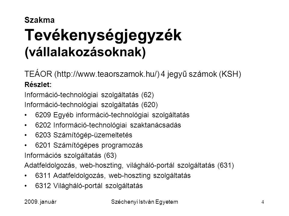 2009. januárSzéchenyi István Egyetem4 Szakma Tevékenységjegyzék (vállalakozásoknak) TEÁOR (http://www.teaorszamok.hu/) 4 jegyű számok (KSH) Részlet: I