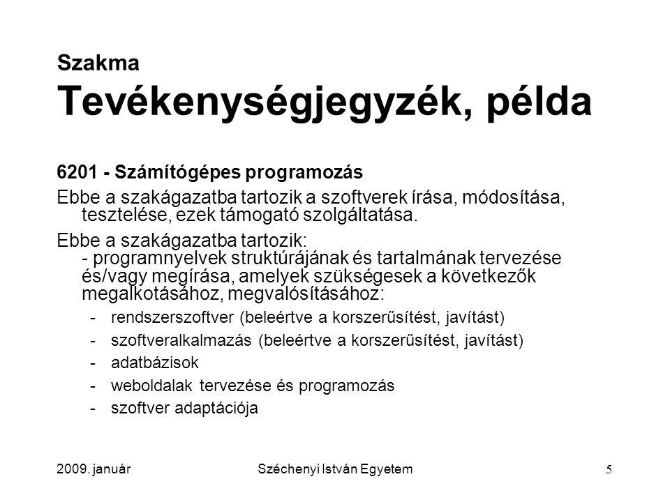 2009. januárSzéchenyi István Egyetem5 Szakma Tevékenységjegyzék, példa 6201 - Számítógépes programozás Ebbe a szakágazatba tartozik a szoftverek írása