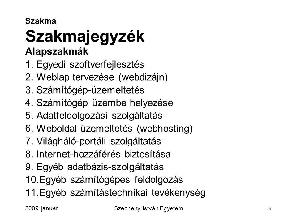 2009. januárSzéchenyi István Egyetem9 Szakma Szakmajegyzék Alapszakmák 1.Egyedi szoftverfejlesztés 2.Weblap tervezése (webdizájn) 3.Számítógép-üzemelt