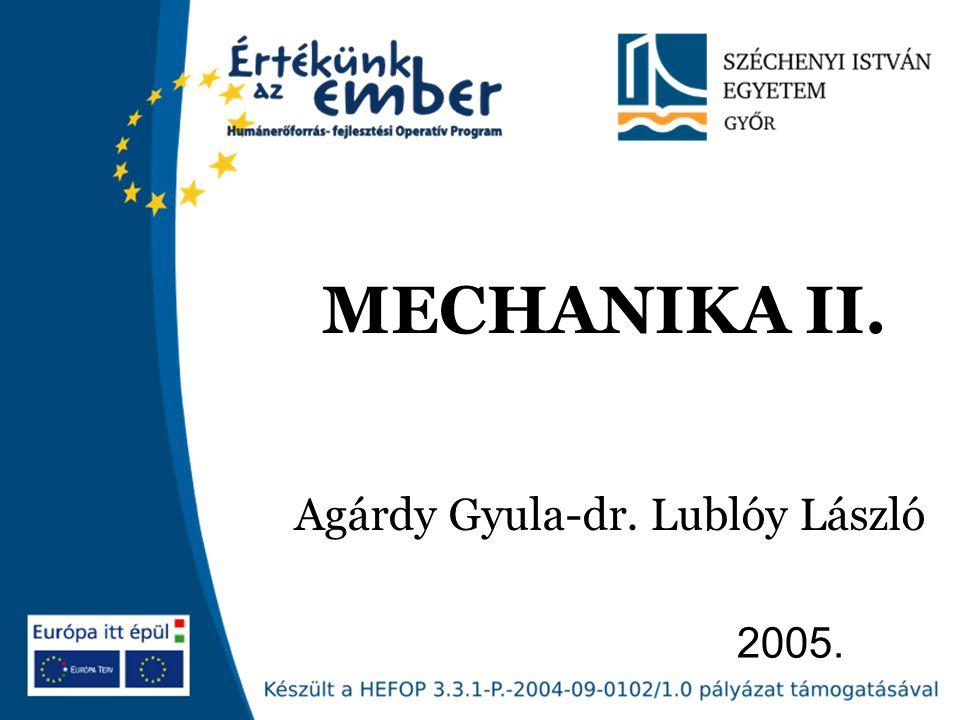 Széchenyi István Egyetem 22 KRITIKUS FESZÜLTSÉG Fejezet címe MECHANIKA I.