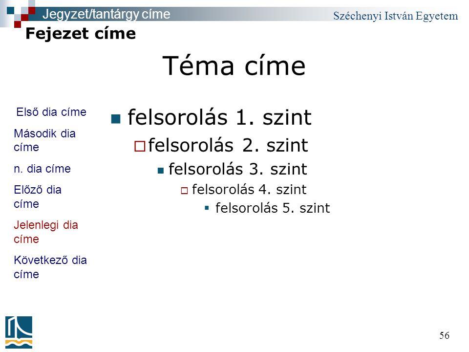 Széchenyi István Egyetem 56 Téma címe felsorolás 1. szint  felsorolás 2. szint felsorolás 3. szint  felsorolás 4. szint  felsorolás 5. szint Fejeze