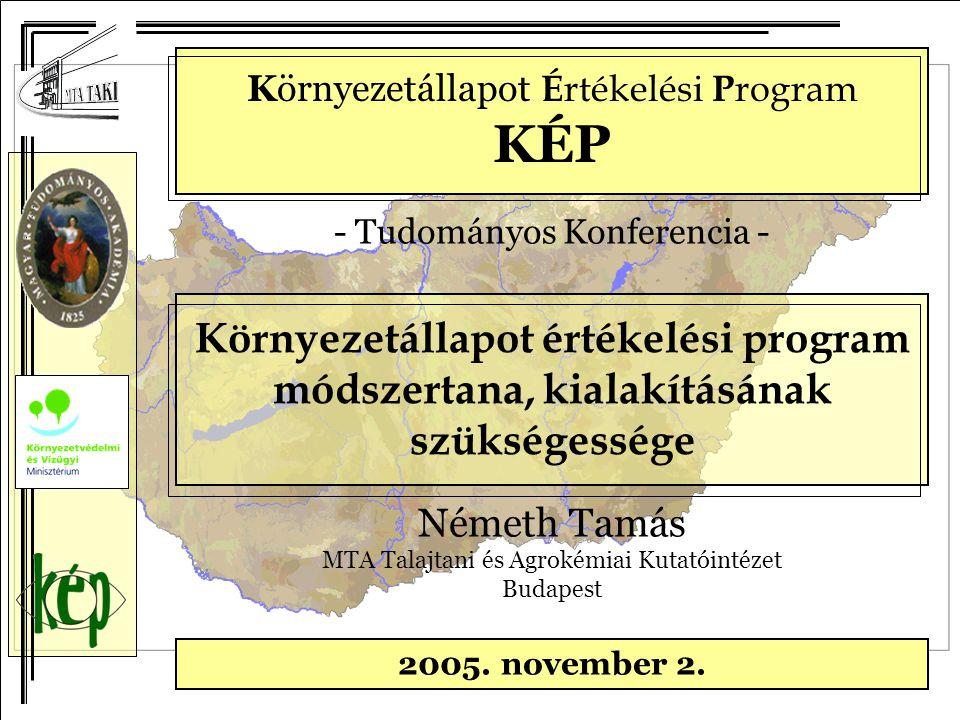Környezetállapot É rtékelési P rogram KÉP - Tudományos Konferencia - 2005. november 2. Környezetállapot értékelési program módszertana, kialakításának