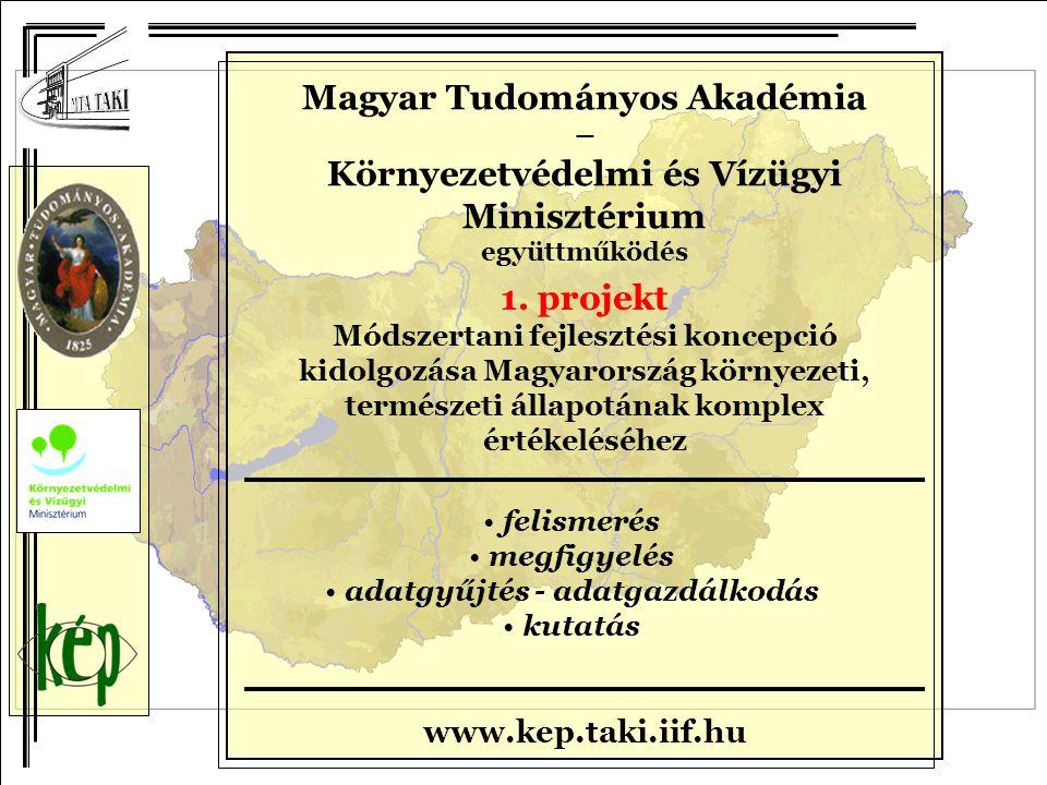 Magyar Tudományos Akadémia – Környezetvédelmi és Vízügyi Minisztérium együttműködés 1. projekt Módszertani fejlesztési koncepció kidolgozása Magyarors