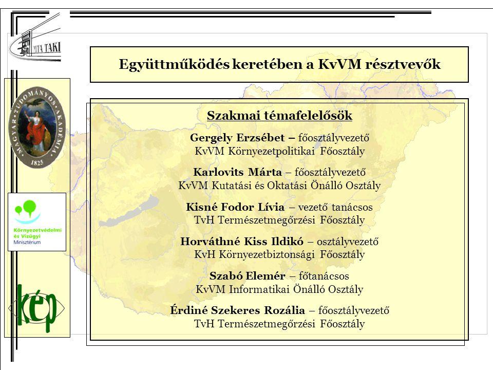 Szakmai témafelelősök Gergely Erzsébet – főosztályvezető KvVM Környezetpolitikai Főosztály Karlovits Márta – főosztályvezető KvVM Kutatási és Oktatási