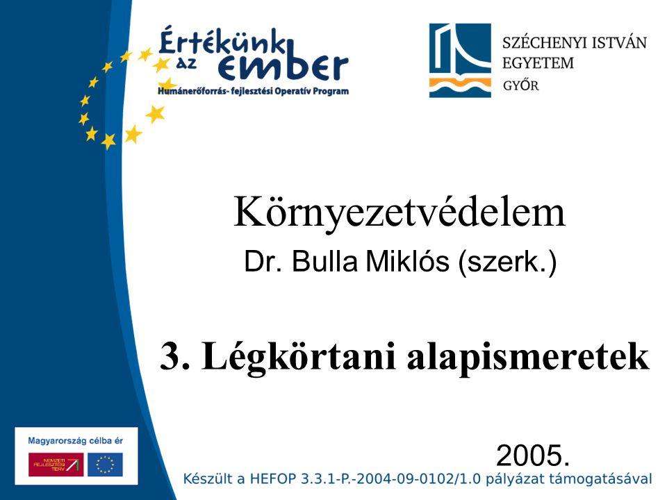 2005. Környezetvédelem Dr. Bulla Miklós (szerk.) 3. Légkörtani alapismeretek