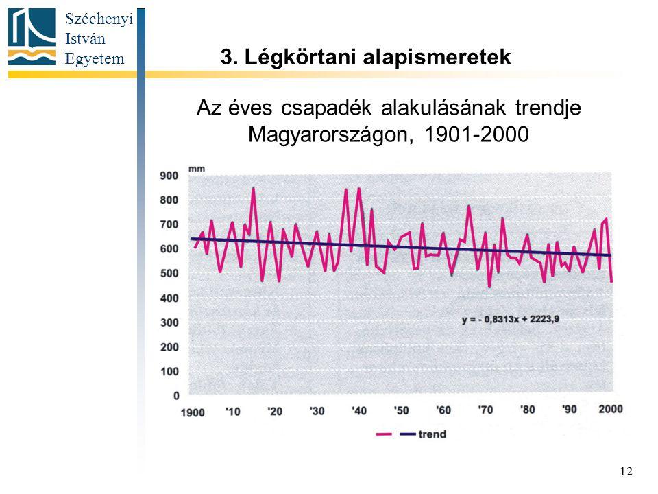 Széchenyi István Egyetem 12 Az éves csapadék alakulásának trendje Magyarországon, 1901-2000 3.