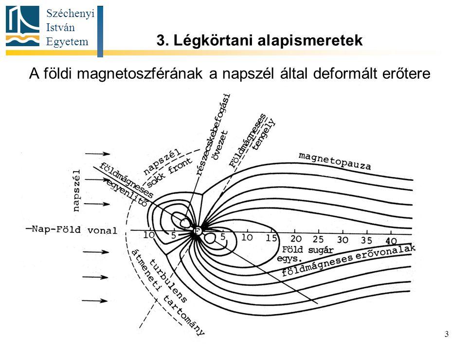 Széchenyi István Egyetem 3 A földi magnetoszférának a napszél által deformált erőtere 3.