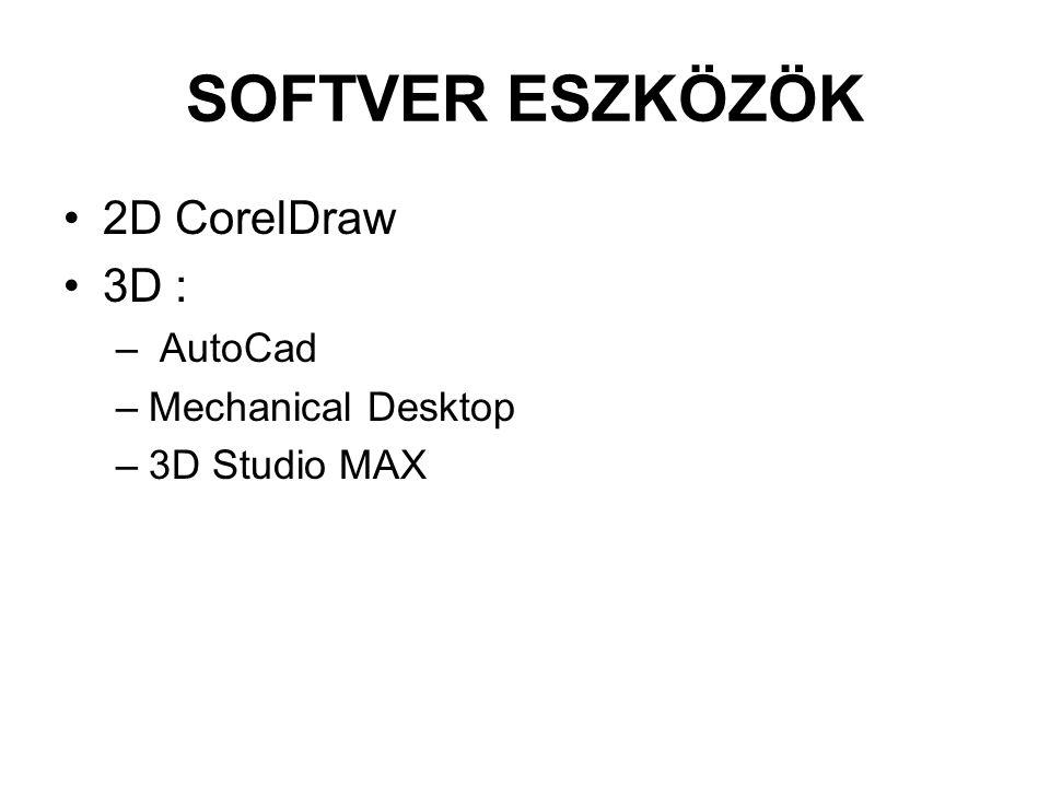 SOFTVER ESZKÖZÖK 2D CorelDraw 3D : – AutoCad –Mechanical Desktop –3D Studio MAX