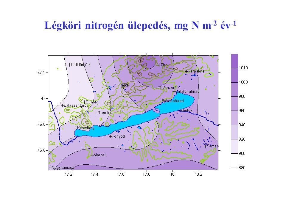 Légköri nitrogén ülepedés, mg N m -2 év -1