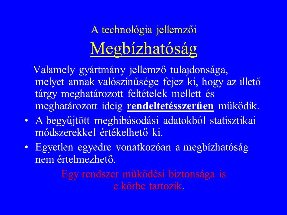 A technológia jellemzői Gazdaságosság A gyártási tevékenység hatékonyságának kifejezése az eredmény és a ráfordítás szembeállításával.