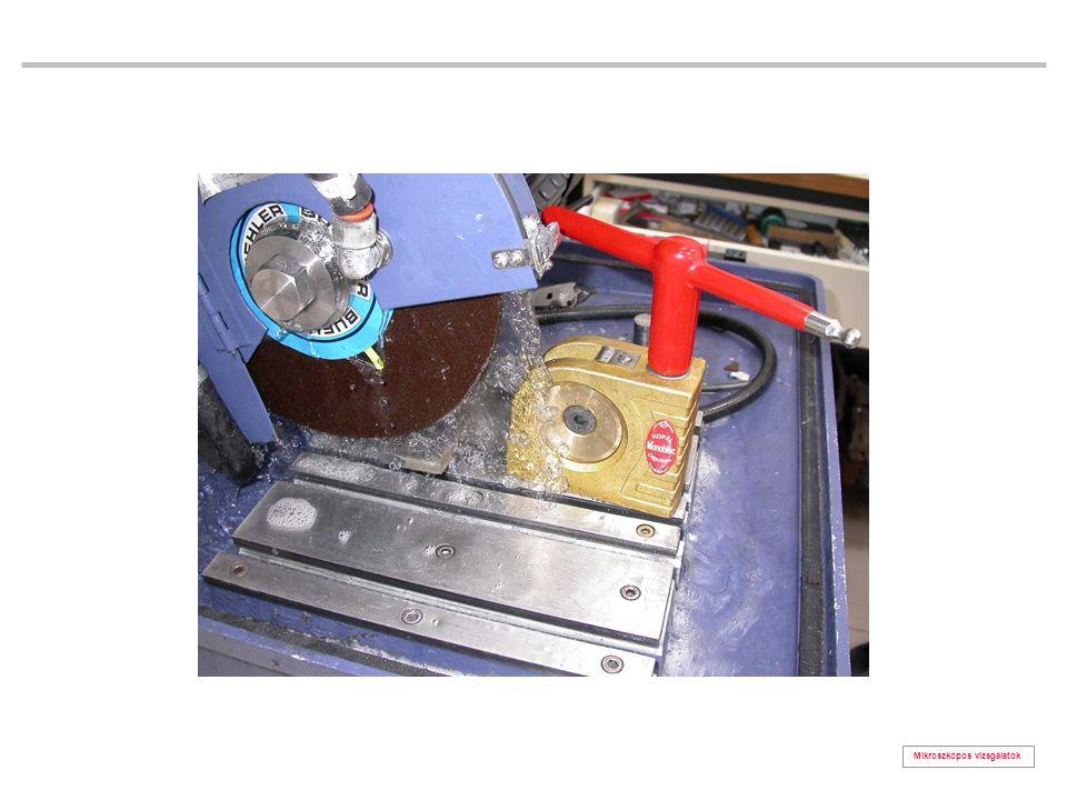 Mikroszkópos vizsgálatok polírozott, maratlan felületek zárványosság vizsgálat