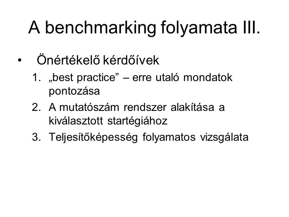 """A benchmarking folyamata III. Önértékelő kérdőívek 1.""""best practice"""" – erre utaló mondatok pontozása 2.A mutatószám rendszer alakítása a kiválasztott"""