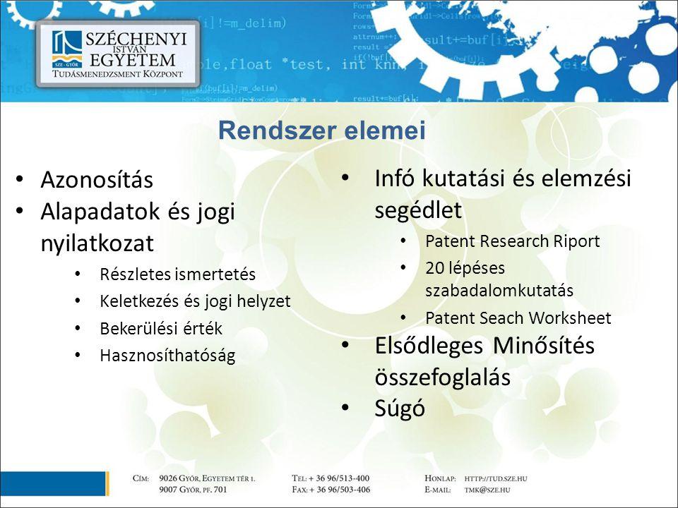 Azonosítás Alapadatok és jogi nyilatkozat Részletes ismertetés Keletkezés és jogi helyzet Bekerülési érték Hasznosíthatóság Rendszer elemei Infó kutatási és elemzési segédlet Patent Research Riport 20 lépéses szabadalomkutatás Patent Seach Worksheet Elsődleges Minősítés összefoglalás Súgó