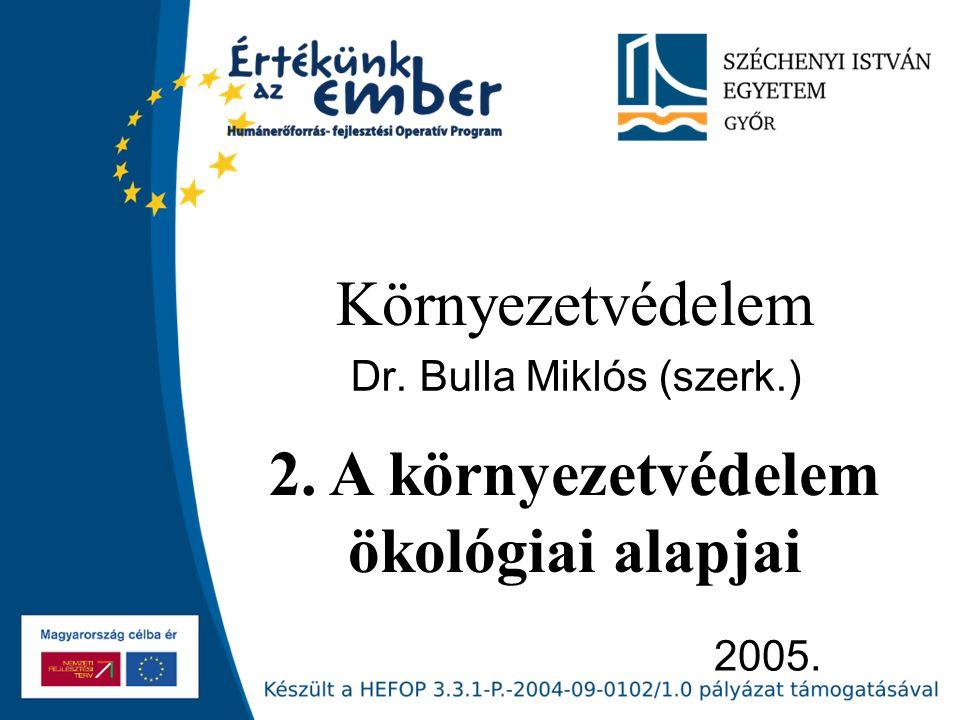 2005. Környezetvédelem Dr. Bulla Miklós (szerk.) 2. A környezetvédelem ökológiai alapjai