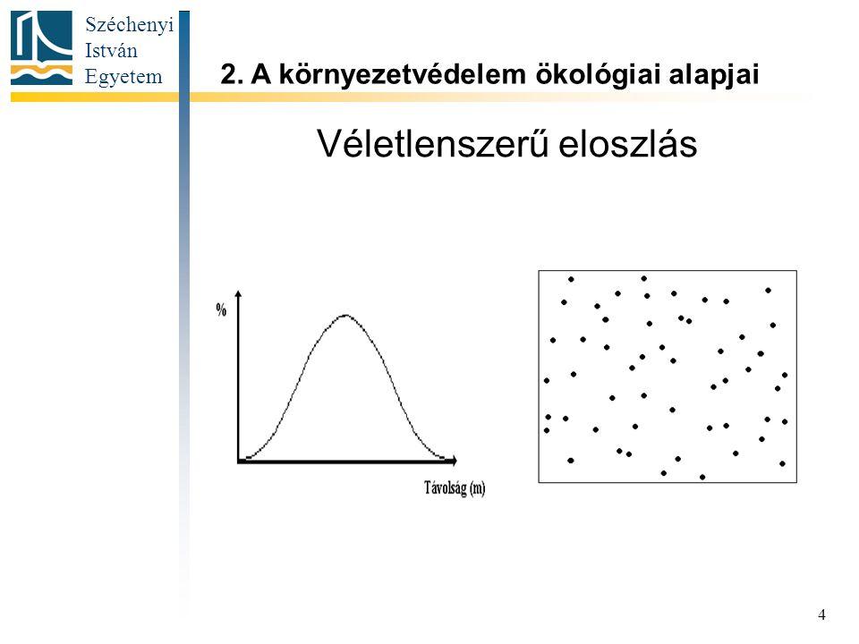 Széchenyi István Egyetem 4 Véletlenszerű eloszlás 2. A környezetvédelem ökológiai alapjai