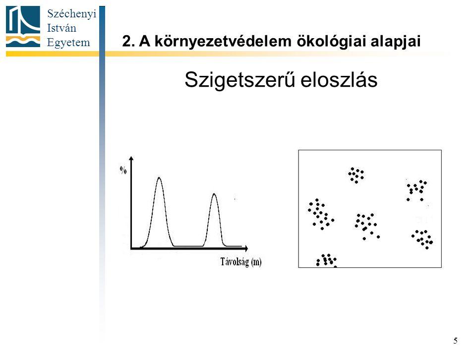 Széchenyi István Egyetem 5 Szigetszerű eloszlás 2. A környezetvédelem ökológiai alapjai