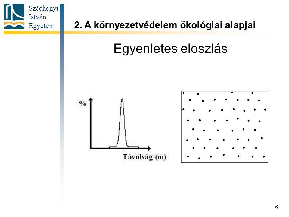 Széchenyi István Egyetem 6 Egyenletes eloszlás 2. A környezetvédelem ökológiai alapjai
