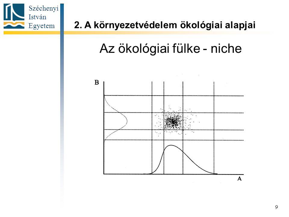 Széchenyi István Egyetem 9 Az ökológiai fülke - niche 2. A környezetvédelem ökológiai alapjai