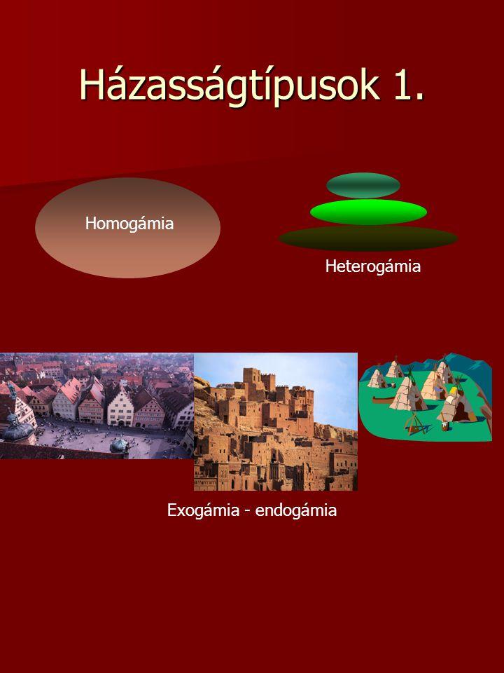 Házasságtípusok 2. 1.Monogám 2.Poligám - poligínia - polgámia - csoportházasság 3. Szinglik