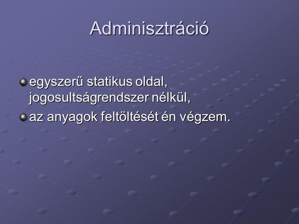 Adminisztráció egyszerű statikus oldal, jogosultságrendszer nélkül, az anyagok feltöltését én végzem.