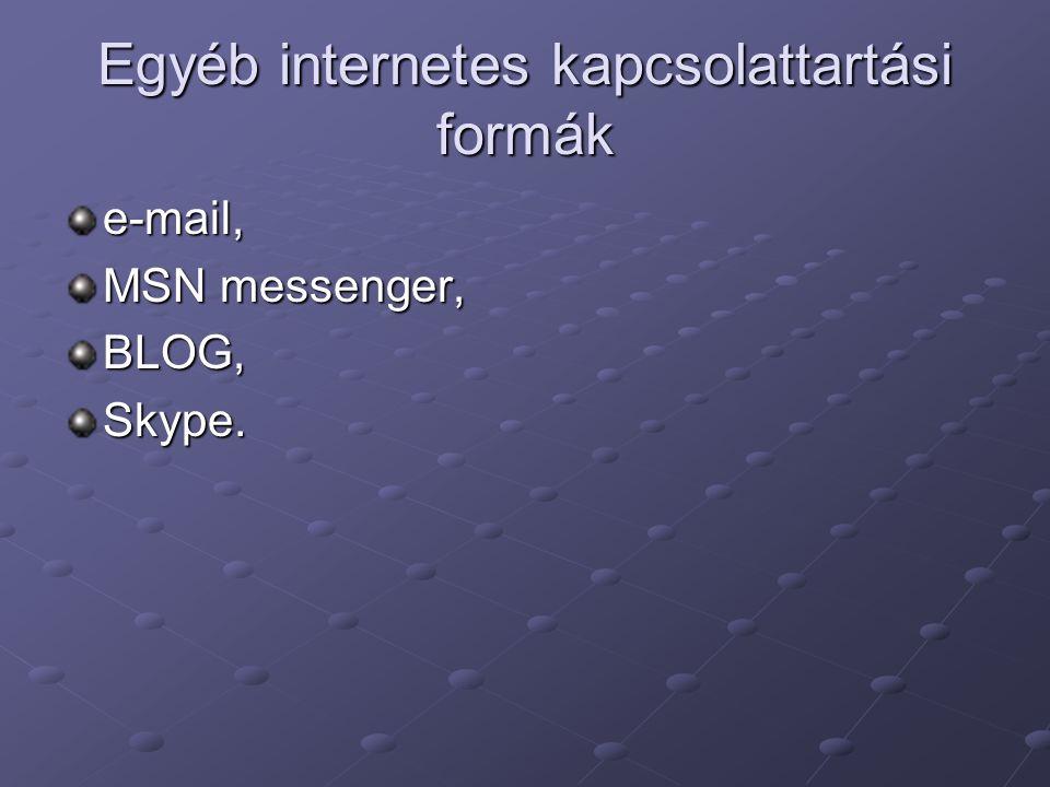 Egyéb internetes kapcsolattartási formák e-mail, MSN messenger, BLOG,Skype.