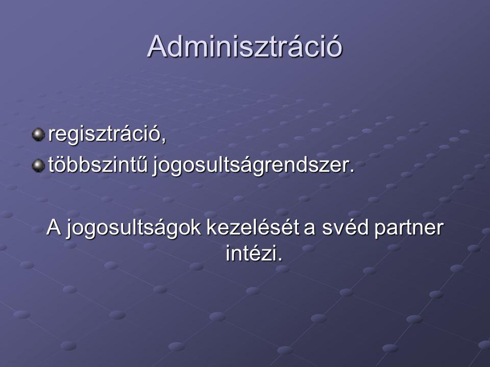 Adminisztráció regisztráció, többszintű jogosultságrendszer. A jogosultságok kezelését a svéd partner intézi.