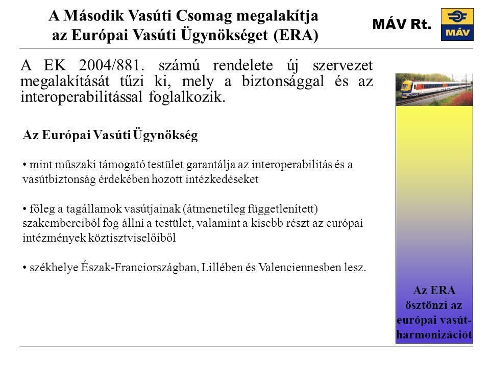 MÁV Rt. A EK 2004/881. számú rendelete új szervezet megalakítását tűzi ki, mely a biztonsággal és az interoperabilitással foglalkozik. A Második Vasút