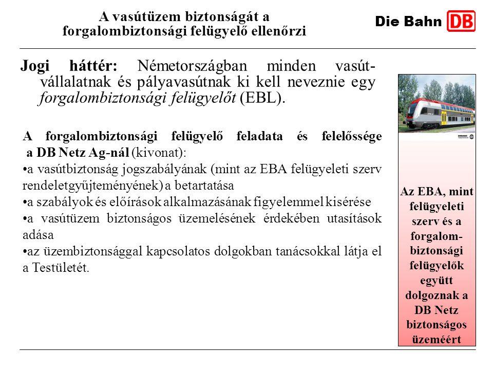 Jogi háttér: Németországban minden vasút- vállalatnak és pályavasútnak ki kell neveznie egy forgalombiztonsági felügyelőt (EBL). Die Bahn A vasútüzem
