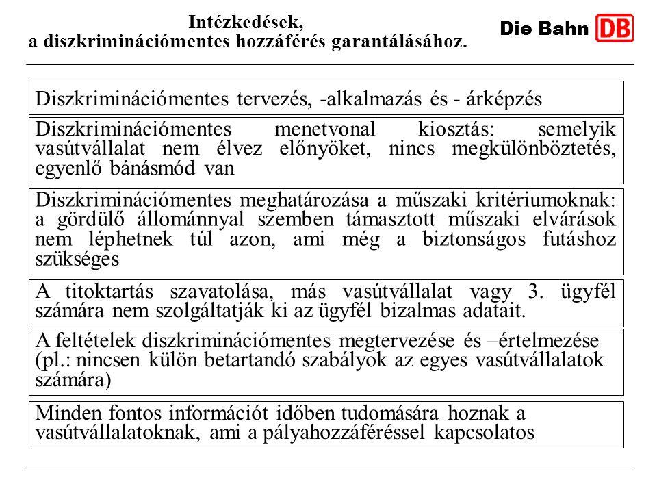 Die Bahn Intézkedések, a diszkriminációmentes hozzáférés garantálásához. Diszkriminációmentes tervezés, -alkalmazás és - árképzés Diszkriminációmentes
