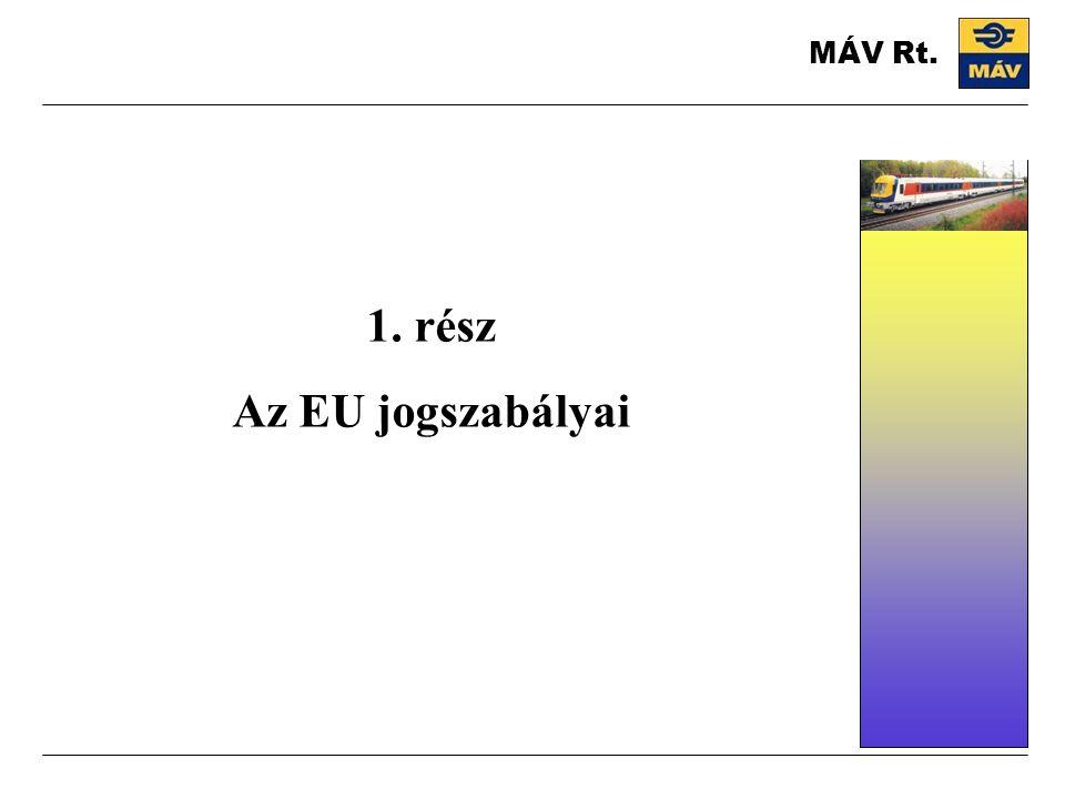 1. rész Az EU jogszabályai MÁV Rt.
