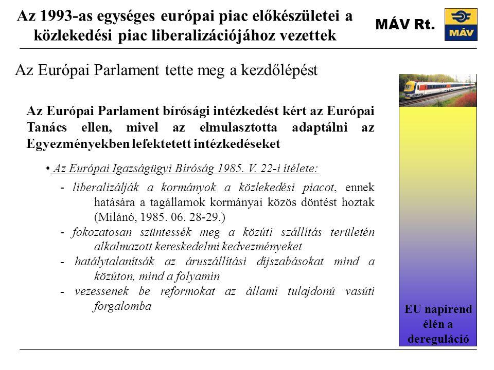 Az Európai Parlament tette meg a kezdőlépést Az 1993-as egységes európai piac előkészületei a közlekedési piac liberalizációjához vezettek Az Európai Parlament bírósági intézkedést kért az Európai Tanács ellen, mivel az elmulasztotta adaptálni az Egyezményekben lefektetett intézkedéseket Az Európai Igazságügyi Bíróság 1985.