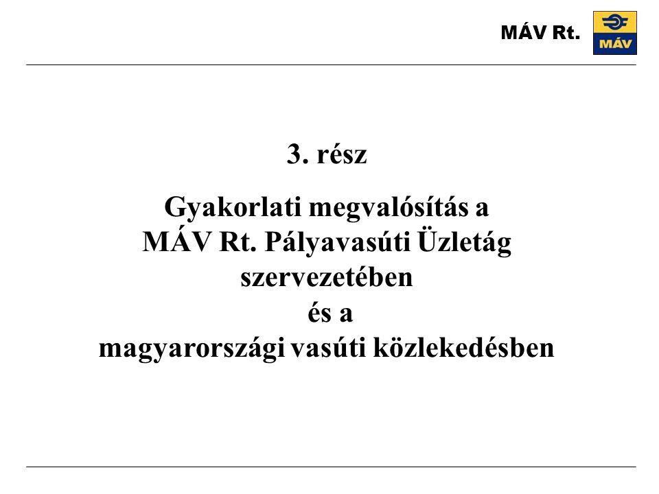 3. rész Gyakorlati megvalósítás a MÁV Rt. Pályavasúti Üzletág szervezetében és a magyarországi vasúti közlekedésben MÁV Rt.