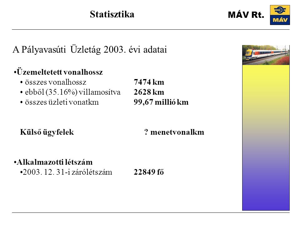 A Pályavasúti Üzletág 2003. évi adatai Statisztika Üzemeltetett vonalhossz összes vonalhossz7474 km ebből (35.16%) villamosítva2628 km összes üzleti v