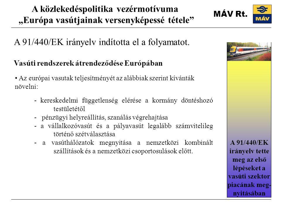 """MÁV Rt. A 91/440/EK irányelv indította el a folyamatot. A közlekedéspolitika vezérmotívuma """"Európa vasútjainak versenyképessé tétele"""" Vasúti rendszere"""