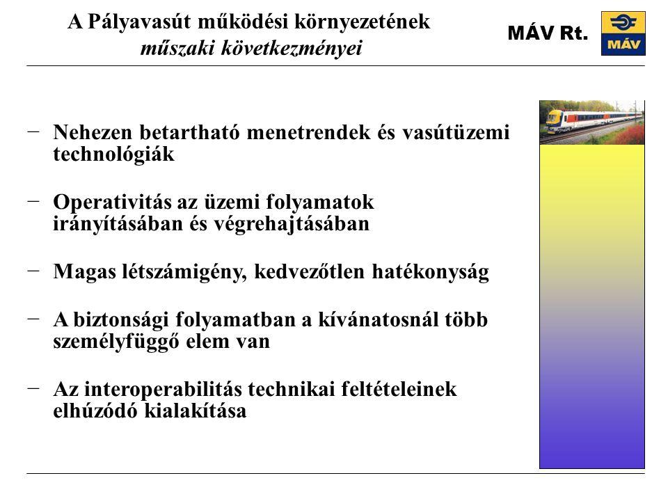 A Pályavasút működési környezetének műszaki következményei −Nehezen betartható menetrendek és vasútüzemi technológiák −Operativitás az üzemi folyamatok irányításában és végrehajtásában −Magas létszámigény, kedvezőtlen hatékonyság −A biztonsági folyamatban a kívánatosnál több személyfüggő elem van −Az interoperabilitás technikai feltételeinek elhúzódó kialakítása MÁV Rt.