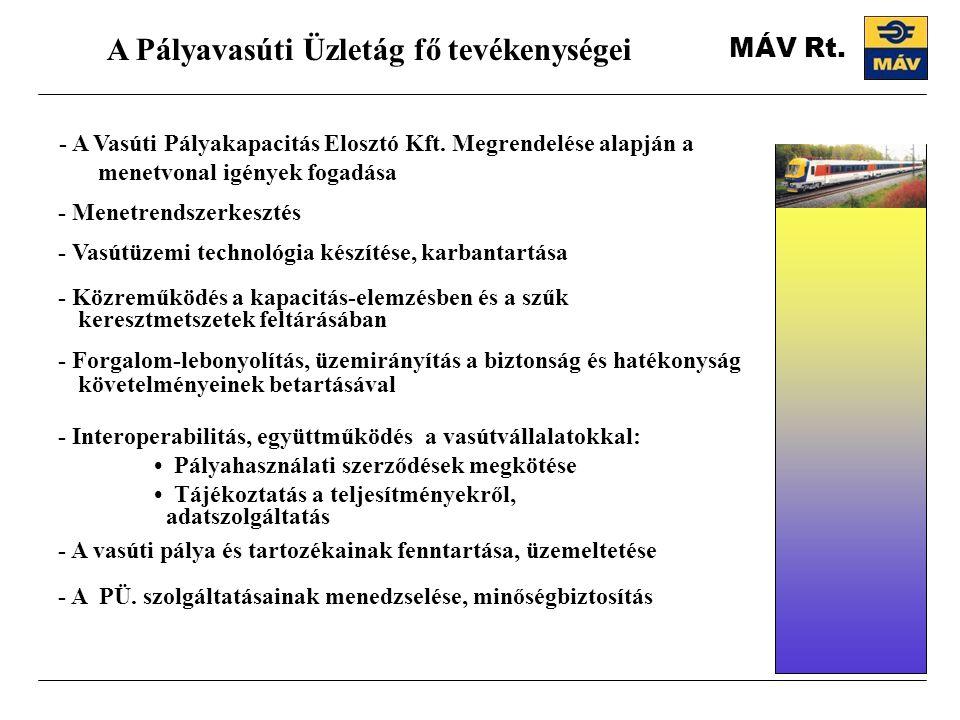 A Pályavasúti Üzletág fő tevékenységei - A Vasúti Pályakapacitás Elosztó Kft. Megrendelése alapján a menetvonal igények fogadása - Menetrendszerkeszté